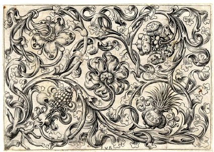 Ornament with five flowers