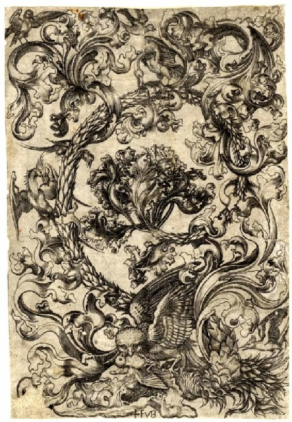 Ornament with an Owl and other birds