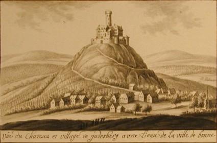 Vue du Chateau et village de Gudesberg a une Lieux de la ville de bonne