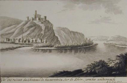 Vue des ruines du Chateau de Hamerstein sur le Rhin, proche Andernach