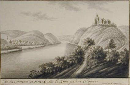 Vue du chateau de Reneck sur le Rhin païs de Cologne