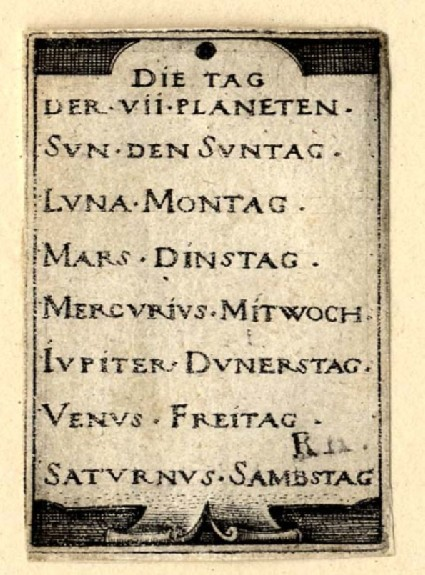 Titlepage for the seven Planets with the Zodiacs