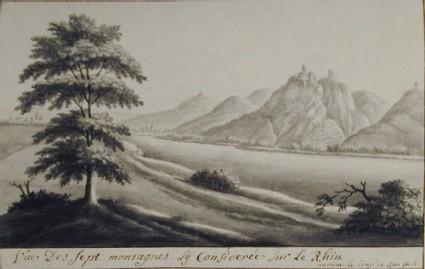 Vue des Sept Montagnes du Considerée sur le Rhin (Siebengebirge)