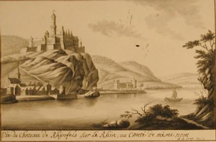 Vue de chateau de Rhÿnfels sur le Rhin, au Comté de même nom