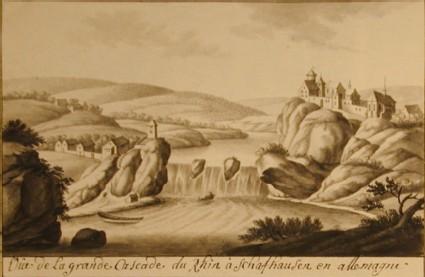 Vue de la grande Cascade du Rhin à Schafhausen en Allemagne