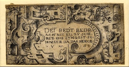 Two designs for a strapwork border, with playing putti and a lion's head at right