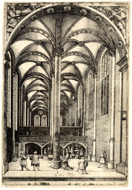 Interior of St Catherine's in Augsburg with the parable of the widow's mite