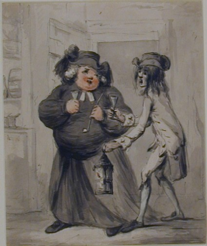 Fat Priest and thin Man in the Doorway of a Tavern