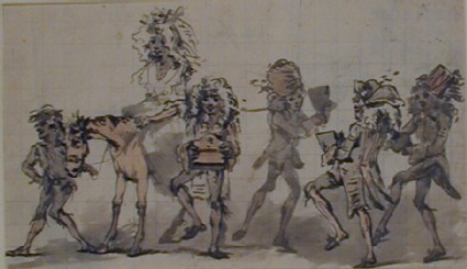 Woman on horseback attended by two figures and followed by three figures dancing