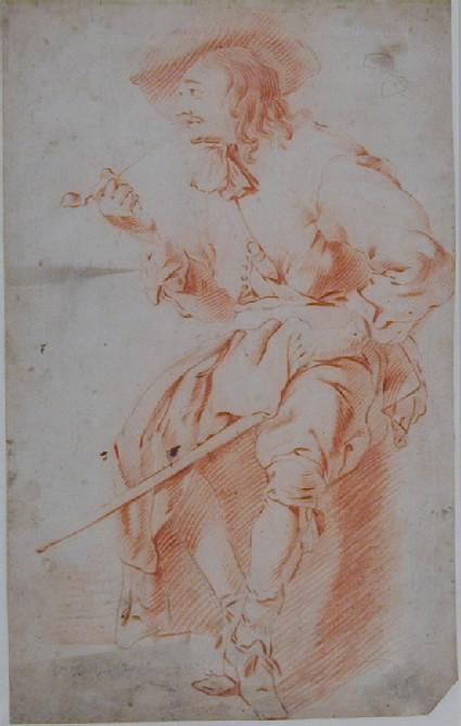 Seated Man smoking a Pipe