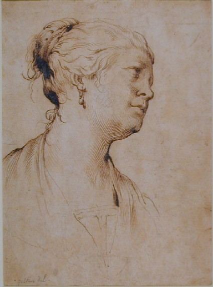 Head and Shoulders of a Woman, seen in profile to the right