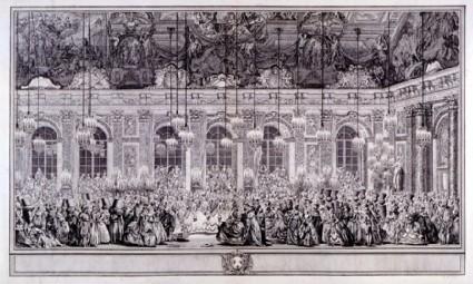 Décoration du Bal masqué donné par le Roy dans la Grande Gallerie du Chateau de Versailles