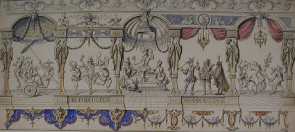 Ornamental design with theatrical figures in five compartments