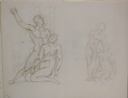 Recto: two sketches of a sculpture<br />Verso: letter to Nollekens from Mr Hawkins dated June 15 1801