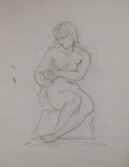 Recto: sketch of a seated female nude<br />Verso: letter from Conyers to Nollekens dated January 24 1803