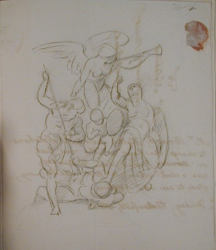 Recto: study for a monument with the figures of Ocean, Britannia, and Fame blowing a trumpet Verso: undated letter to Nollekens from Mr Brand Hollis