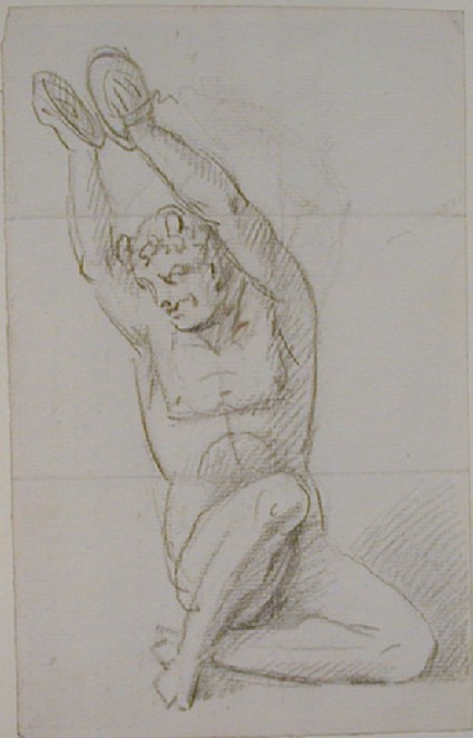 Recto: nude figure holding cymbals above his head Verso: fragment of an undated letter to Nollekens from Mr Portman