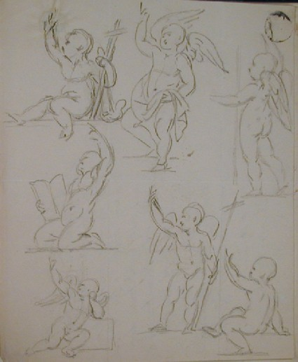 Recto: sheet of studies for an angel or possibly young St John Verso: letter to Nollekens from Lady Bowyer
