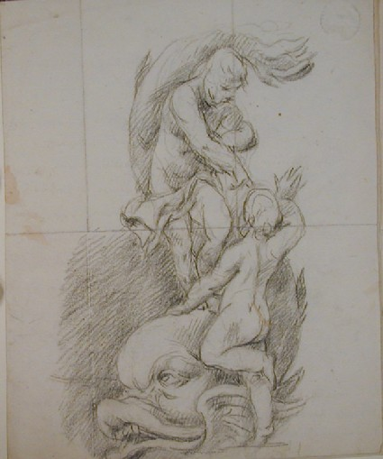 Recto: two figures with a dolphin Verso: undated letter to Nollekens from D. Wilson