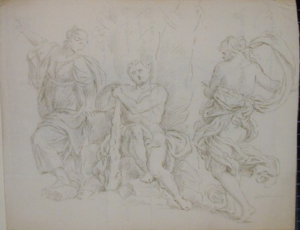 Recto: group of antique figures resting by a tree (The Choice of Hercules)