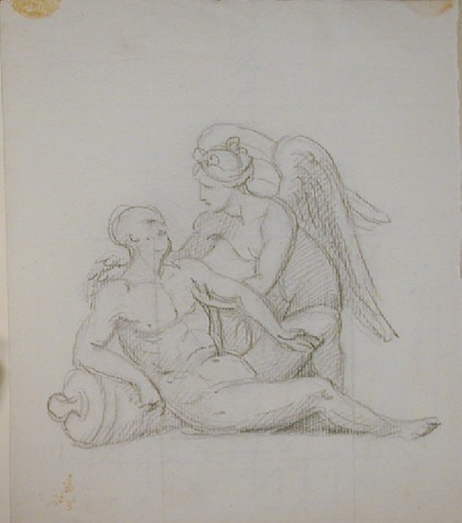 Recto: dying hero attended by a winged Victory.
