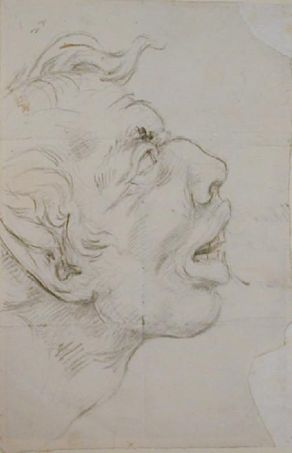 Recto: profile of a grotesque antique head Verso: fragment of Nollekens's address on an envelope