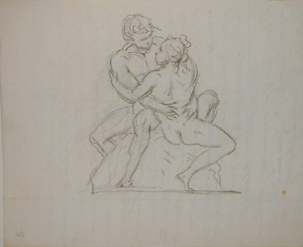 Recto: sketch of an embracing couple seated Verso: letter to Nollekens from John Singleton Copley, mentioning the death of Mr Langton, late professor of Ancient literature in the Royal Academy