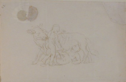 Recto: two children with a wolf, possibly Romulus and Remus  Verso: envelope with red seal, addressed to Nollekens