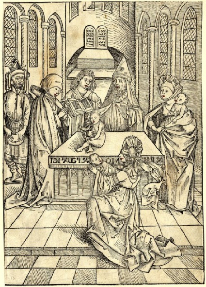 Recto: The offering of the first-born in the temple<br />Verso: Joseph taken out of the well and sold to the Midianites