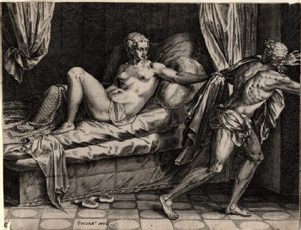 Joseph fleeing from the wife of Potiphar