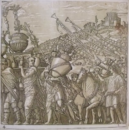 A procession of Roman soldiers carrying insignia