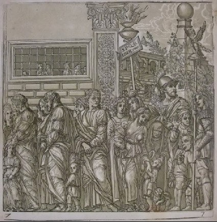 A Procession of Roman Men and Women, with Soldiers carrying Insignia