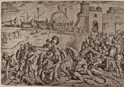The Christian Army repelling the Saracens at the Port of Ostia