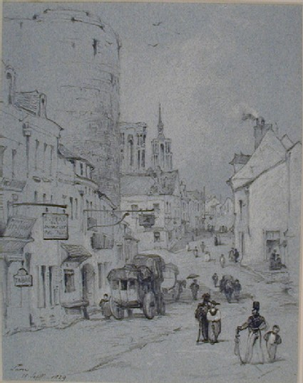 A Street in Laon, with Notre Dame to the Left
