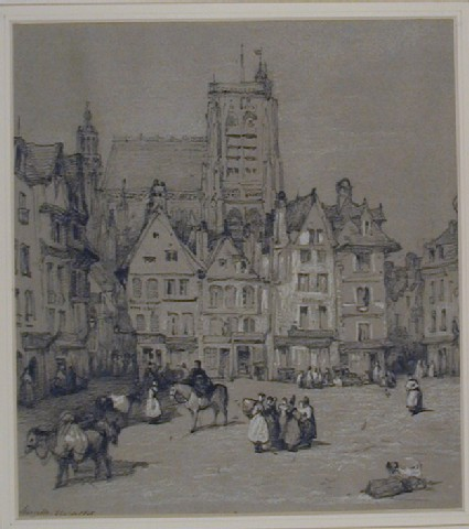 The Place de l'Amiral Courbet with the Church of St Vulfran, Abbeville