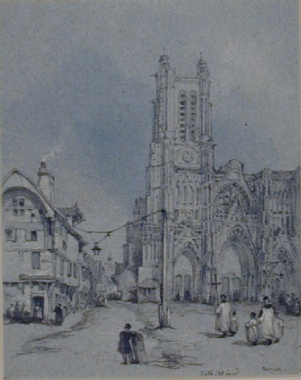 Rue de la Cité and Cathedral, Troyes
