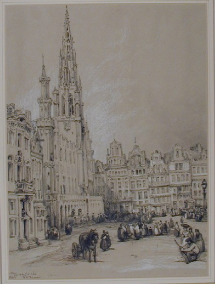 The Grand Place with the Town Hall to the left, Brussels