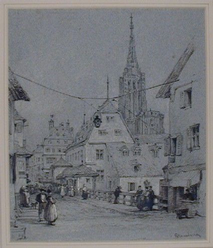 Street Scene with the Cathedral in the Background, Strasbourg