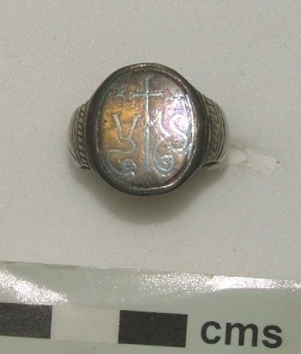 Silver ring with the sacred monogram