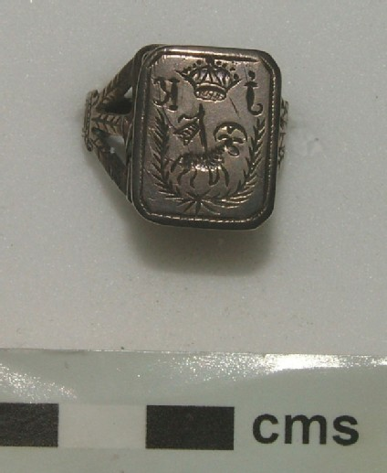 Signet ring engraved with an Agnus Dei and a crown between I and K