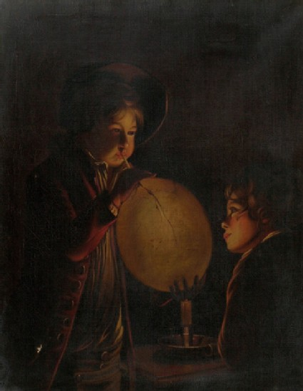 Two Boys with a Bladder, Candlelight Effect