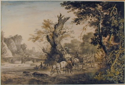 Landscape Composition with Horses Watering
