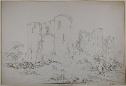 Recto: LLehaiden Castle<br />Verso: Sketch of a church