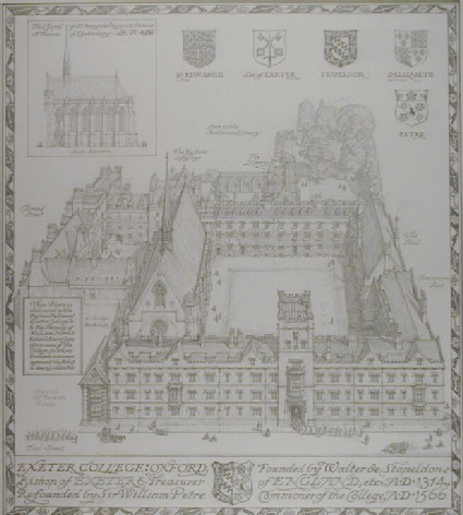 Bird's Eye View of Exeter College, Oxford