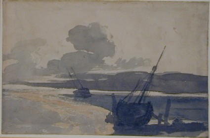 Coast Scene with two stranded Vessels