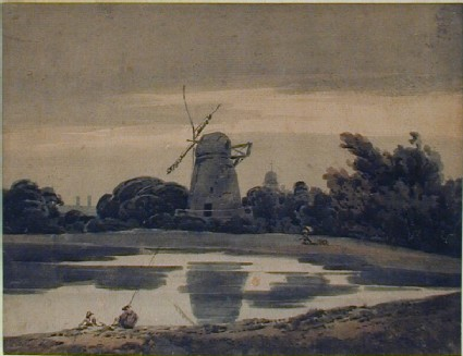 Wooded Landscape with Windmill and Pool