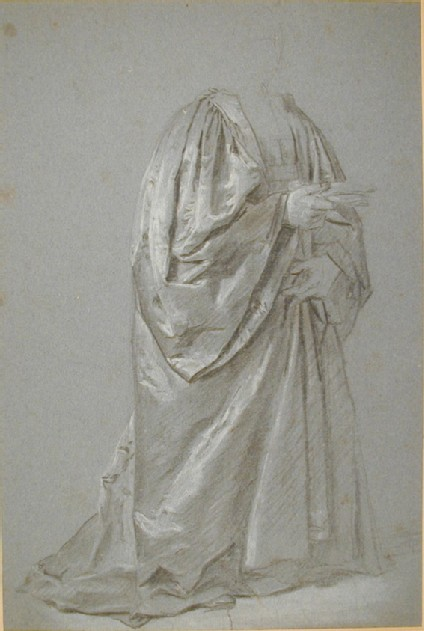 Figure in magistrate's robes, kneeling towards the right