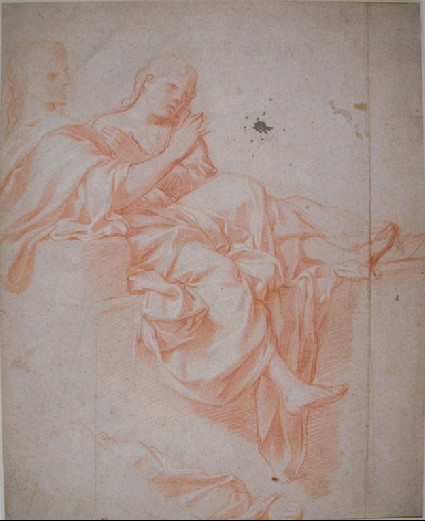 Christ seated, facing right, with St John
