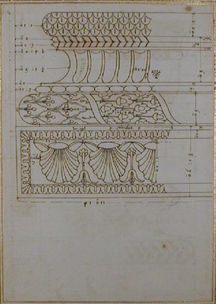 Recto: A column base <br />Verso: an entablature and a base