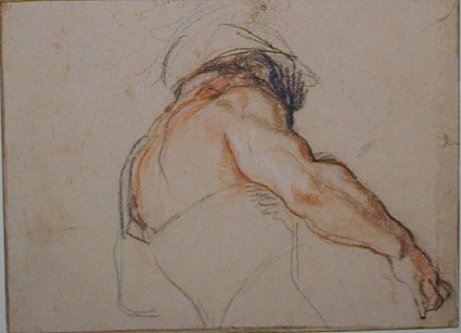 Study of a man's back, half-length, and his right arm